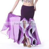 Sexy Elastic Strip Double Color Slit Belly Dance Stage Performance Long Skirts Tutu Dress