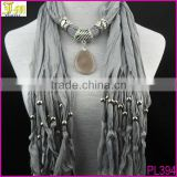 Wholesale Fashion Women Bohemian Drop Pendant Necklace Scarf Stole Neck Shawl Wrap Jewelry Gift