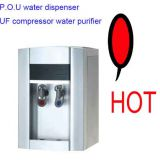 competitive desktop pou uf water filter cooler dispenser 4 stages with UV lamp hot&cold water compressor cooling,OEM ser
