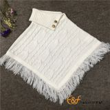 Uneven Fold Neck Design Pullover Sweater Poncho