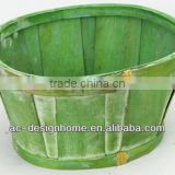 GREEN WASH OVAL BAMBOO CHIP BASKET
