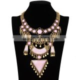 Fashion women pink arcylic gems gold plated alloy necklace jewelry