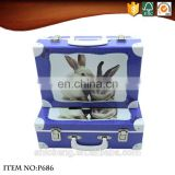Decorative pretty kids travel suitcase box with metal lock