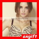 OXGIFT New Zebra print one piece seamless underwear strong deep v sexy ladies youth gathered bra