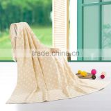 Top quality yellow super double layer jacquard dot beach children soft towelling coverlet