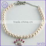Pet Jewelry pearl beads crystal crown metal bone dog necklace