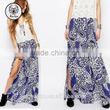 Maxi Skirt With Front Splits In Festival Boho Paisley Printed