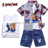 wholesale children clothing 3 piece set kids tank top jeans and open shirt children boys clothes
