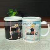 New design black printing cup color changing ceramic coffee mug magic mug
