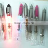 Electronic LED light ballpoint pens multicolored metal glow pens LED light with ballpoint pen High quality with cheap price