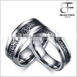 Trendy Men Women Tungsten Carbide Carbon Fiber Inlaid Black Gun Plated 8mm/6mm Cool Couples Rings