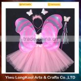 2016 New arrival hot sale fairy wings dresses kids party tutu set costume pink butterfly wings costume