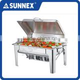 SUNNEX Stainless Steel Roll Top Rectangle Food Warmer Chaffing Dish