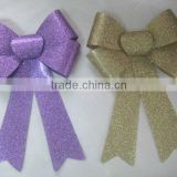 "9"" Gold PVC Glitter Christmas Ribbon Bow"