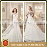 VDN46 Fairy Lace Appliqued Ruffle Long Train Wedding Dress 2016 Sheer Illusion Back White Long Dresses for Weddings