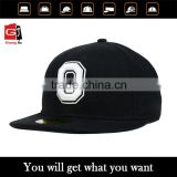 Wholesale Customize Cotton Fabric 3D Puff Embroidery 6 Panel Black Flat Peak Flexfit Snapback Cap And Hat