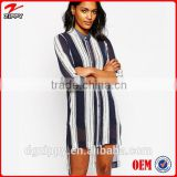 Long Line Stripe Shirt 2015 new design chiffon ladies blouse