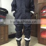 Hot Selling 100% Polyester Hi-vis dark blue Durable Construction Worker Uniform reflective stripe Safety Coverall