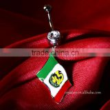 14G Mexico Flag Logo Belly Button Piercing