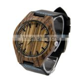 Mens Watch Natural Zebra Wood Watch Original Wood Grain Watches with Genuine Leather Strap