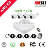 2015 Factory Price 4CH AHD dvr KIT 4PCS 720P IR Outdoor Weatherproof 24 LEDs cctv camera system