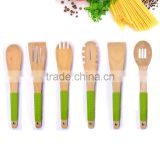 Fashion Design 6-Piece Wood Kitchen Utensils Set With Silicone Handle Cover FDA LFGB Food Grade Cooking Baking Tools