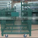 JS Steel collapsible storage cage, Warehouse storage mesh storage cage with universal castors