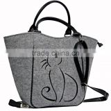 alibaba china wholesale 2017 hot selling cat pattern eco friendly felt lady bag handbags non woven women sling bags