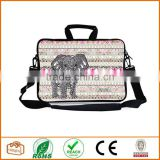 13-Inch Pink Water Ripples Bohemian Style Grey Elephant Neoprene Laptop Sleeve Case Bag Handbag with Extra Side Pocket