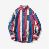 mens long sleeve casual flannel colourful stripes shirt