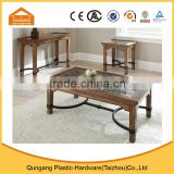 high quality American style glass top wood frame coffee table