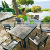 outdoor aluminum frame furniture wood table