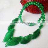 Green White Jade Leaves Beads Gems Necklace