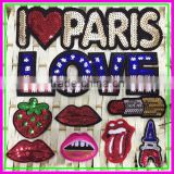 Fashion New Design Sample Trial Order Sew-on Cheap OEM ODM Computer Embroidery Plastic Paillette Lipstick Fruit Shine Patches