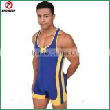 Blue Black Red scrimmage men wrestling singlet in cheap price bodysuit wrestling singlet