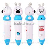 Dog animal shaped Blue Kids touch reading pen / lanugage learning Dry Battery