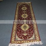 persian design red runner made in china, handmade silk carpet factory in guangzhou china