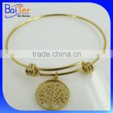 Gold Plated Stainless Steel Expendable Wire Bangle Tree Of Life Charm Bracelet Wholesale