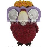 Resin owl with sunglasses solar powered garden ornament statue