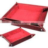 Set of 3 Faux leather desktop snap tray, key tray