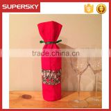 V-576 Wholesale christmas wine bottle covers sweater lace and ribbon tie wine bottle bag