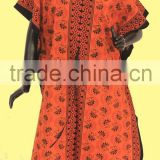 DUBAI RED CARPET KAFTANS ABAYAS Kaftans Beautiful Jalebiyas / Orange colored printed ethnic design kaftan dress