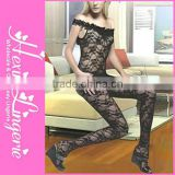 Wholesale hot plus size lady black sexy tight bodystocking