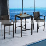 Cheap aluminum rattan bar table and stool used bistro set furniture