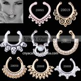 Wholesale Brass Opal Gold Plated Fake Septum Hoop Nose Rings