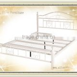 Double Queen size Designer Antique home platform Metal bed with headboard and footboard white