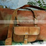 real goat leather vintage style weekend bags/leather travel bags/luggage bags