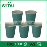 Wholesale Disposable Eco-friendly Round Embossing Paper Coffee Cups Green Blue Pink color