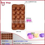 BT0090 New 15 Holes Pig Face Chocolate Mould Silicone Pig Cake Mould Funny Shape Silicone Cake Mould Silicone Chocolate Mold