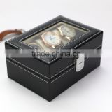 3 Slots Popular Black Pu Leather Mens Watch Case Wristwatch Box packaging Watch Box